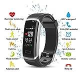 Cotify Fitness Armband, Wasserdicht IP67 Fitness Tracker, Pulsuhren, Schrittzähler, Musik-Player und Kamerasteuerung, Vibrationsalarm Anruf SMS Whatsapp Beachten Kompatibel mit iPhone Android Handy