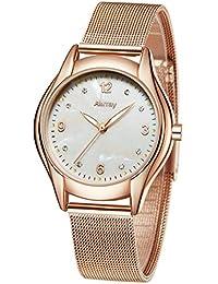Reloj de cuarzo, de lujo de Abrray, oro rosa, para mujer, correa de malla, para regalo de graduación o aniversario