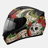 MT–Casco integrale Revenge, con motivo Teschio e Rose, colore: nero e rosso L multicolore