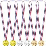 36 Piezas de Medallas de Ganador Premio de Plático Dorado Plateado Bronce, Cada Color 12 Piezas