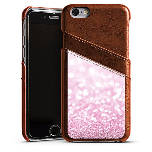 Apple iPhone 5 Housse Outdoor Étui militaire Coque Look paillettes Rose vif Brillance Étui en cuir marron