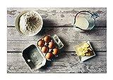 Wandhelden - modernes Leinwandbild auf Keilrahmen, Verschiedene Größen (auch XXL) - in Thüringen gefertigt - Küchenbild: Kuchen Backen mit Ei und Butter - Foto Kunstdruck auf Leinwand (60 x 80 cm)