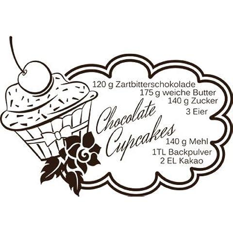 Pared Adhesivo para Cupcake Recetas Chocolate Chocolate cereza, metal, 080 marrón, 83 x 57 cm