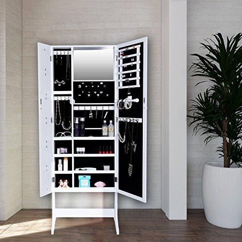 Songmics 154 cm armadio specchio portagioie gioielli a chiave con specchio jbc27w - Armadio specchio gioielli ...