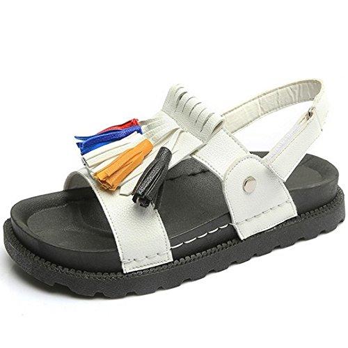 TAOFFEN Femmes Mode Plates Sandales Bout Ouvert Slingback Scratch Ete Chaussures Blanc