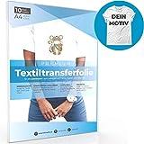 A4 Transferfolie für HELLE Stoffe und Laserdrucker, Transferpapier/Bügelfolie zum Bedrucken und Aufbügeln auf T Shirts und versch. Textilien (10 Blatt)
