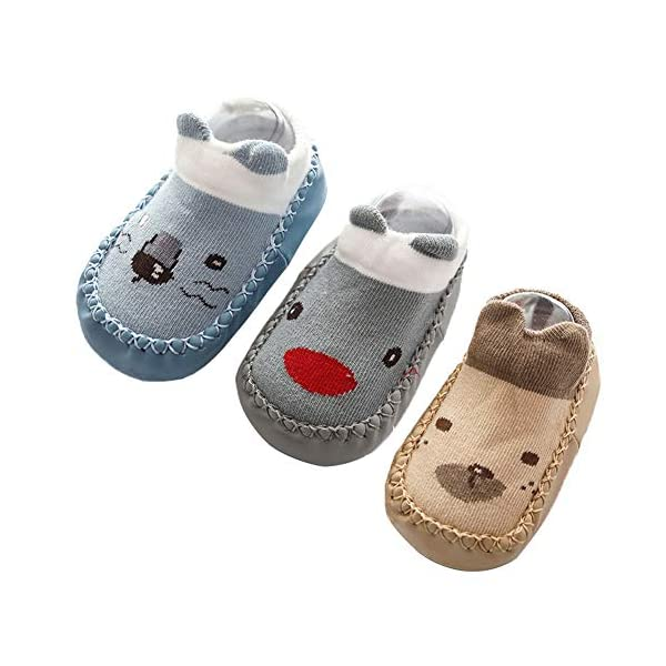 Happy Cherry 3Pcs Calcetines Prewalker para Recien Nacido Antideslizante Zapatillas de Piso Estampado Dibujo Animado… 1
