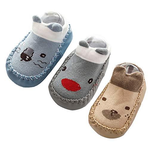 Happy Cherry 3Pcs Calcetines Prewalker para Recien Nacido Antideslizante Zapatillas de Piso Estampado...
