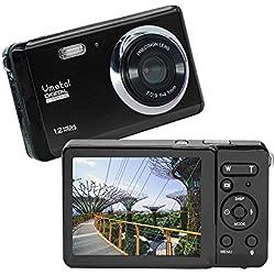 Vmotal GDC80X2 Mini Appareil Photo numérique Compact 12 MP HD TFT LCD Caméra pour Enfants/débutants/Personnes âgées Cadeau de Noël (Noir & Noir)