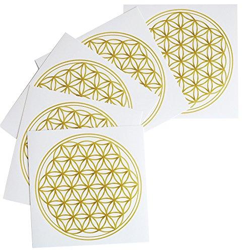 5er Set Sticker / Aufkleber BLUME DES LEBENS – Meditation - Yoga - Esoterik - Spiritualität - Energie - Deko - Feng Shui