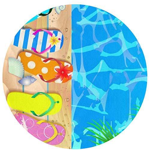 N/A Stuhlboden Mode Kreis Teppiche - 16 Zoll, Kinder und Frauen Boden weichen und warmen Teppich,Mehrzweckküche/Wohnzimmer Hine Waschbare Fußmatte (Holzbrett mit Seestern und Flip Flop)