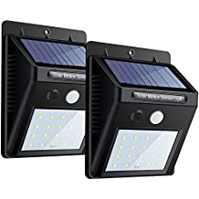 Focos Solar de 20 LED Lámparas Solares de Exterior con Sensor de Movimiento, Focos para Pared de Luz Solar, Led Solar Movimiento, Luces de Solar para Jardín, Patio, Terraza, Escaleras, Camino de Entrada, Iluminación y Seguridad de Exterior 2pcs