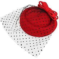WEONE donne rosse Fascinator Pillbox Feltro di lana Hat Hair