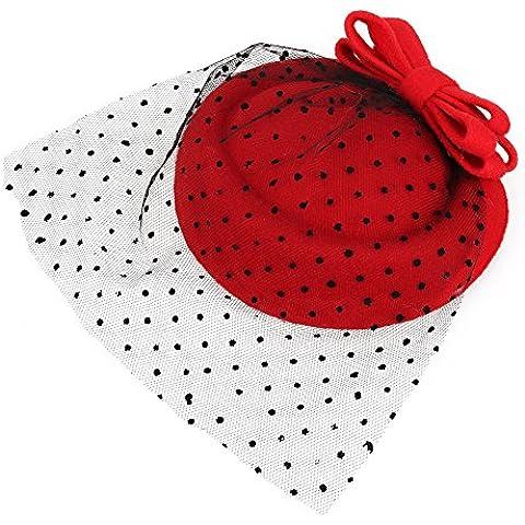 WEONE rojo de las mujeres de Fascinator pastillero de fieltro de lana sombrero de la pinza de pelo del Bowknot del vestido formal