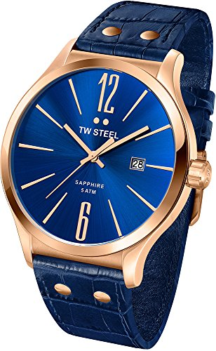 TW STEEL Men's Quartz Watch with Blue Dial Analogue Display and Blue Leather Strap TW1305