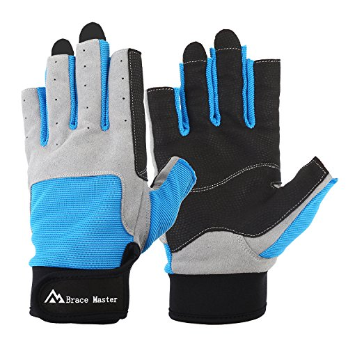 Sailing Gloves Men Women for Sailing, Fishing, Boating, Kayaking, Surfing, Canoe Padding, Dinghy and Water Sports, Leather in Palm to Enhance Gripping, 3/4 Finger Design, Blue/Grey by BraceMaster (Medium)