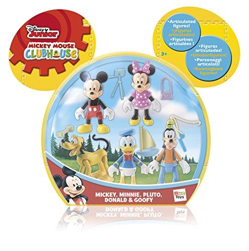 Increible pack que incluye 5 figuras articuladas de Mickey y sus amigos Minnie , Pluto , Donald y Goofy. Cada figura incluye un accesorio. Las figuras son de 8 cm. aprox.