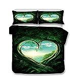 CSYPYLE Mode-Bettwäsche-Set Ineinander Verflochtene Herzförmige Bäume Muster Komfortable Blatt Kissenbezüge Set, Super King