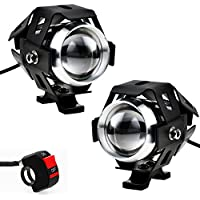Justech 2pcs 125W Phare Moto Feux Additionnels LED Phares Avant Moto Anti Brouillard Projecteur Spot LED Moto 3000LM U5 Etanche pour Moto Quad Scooter - avec Interrupteur ON OFF de Feux