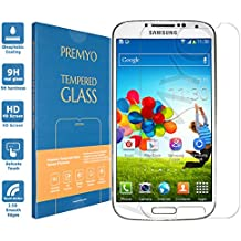 PREMYO vetro temperato Samsung S4. Pellicola vetro temperato S4 con una durezza di 9H e bordi arrotondati da 2,5D. Pellicola in vetro Galaxy S4
