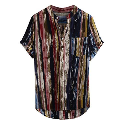 Hawaiihemd | Herren | Kurzarm | Front-Tasche | Hawaii-Print | Stehkragen Streifen drucken -