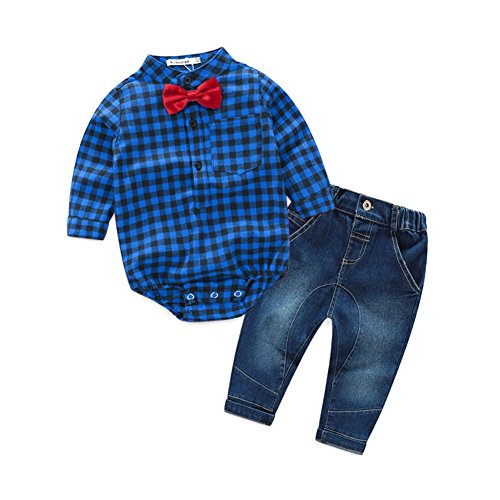 Baby Boy Kleidung Anzug Set Gentleman Plaid Fliege Strampler Overall + Jeans Hosen Outfit Kleidung für 6-36 Monate Infant Kleinkind von Shiningup -