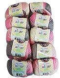 Alize Baby Wool Lot de 10 pelotes de Laine à Tricoter avec 20% Bambou et 40% Laine 500 g Multicolore...