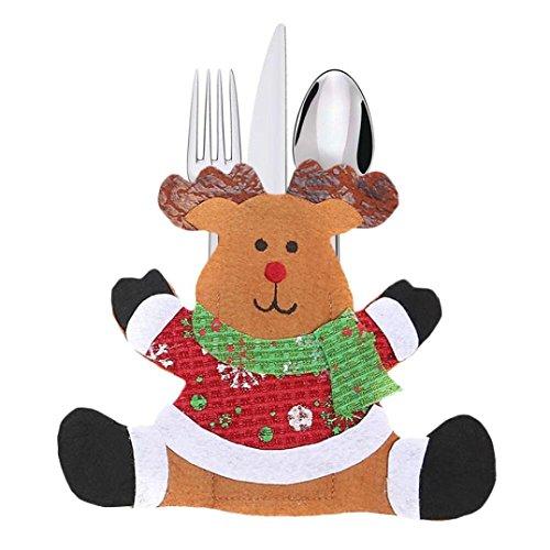 Hirolan Weihnachten Kappen Besteck Halter Gabel Löffel Tasche Weihnachten Dekor Tasche Nikolaussocke Weihnachts Socke Geschenk Tasche für Kinder Weihnachten Deko (C)