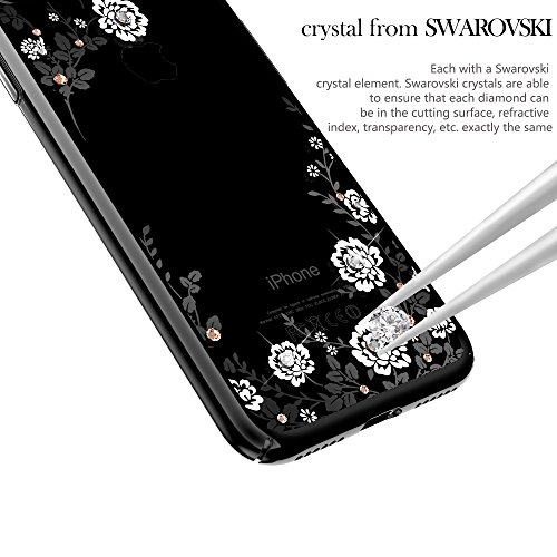 iPhone 7 Plus Hülle,Kingxbar Ultra Thin Dünn Bling Hülle Hart PC Hüllen Case Schutzhülle Premium Bling Luxus Tasche Protection Kristall Case Glitzer Protective Skin Hard Back Shinning Cover Schale Ult Flover-Black