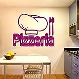 Squisita pizzeria Semplice Cappello da cuoco Coltello Forchetta Adesivo da parete Accessori Arte Adesivi murali Ristorante Decorazioni per la casa Murales 114 * 142 cm