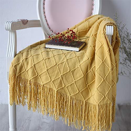 UMOOIN Gestrickte Kuscheldecke Normallack-weiche reizende Quasten klimatisierter Decken-Reise-Acryl Bett-Plaid-Tapisserie 127x210cm,Yellow -