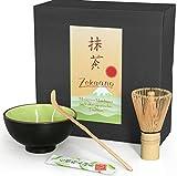 Juego de 3piezas de té Matcha compuesto de té Matcha–Bol, cuchara de té Matcha (y escoba de té Matcha (bambú) en caja de regalo. Original Aricola®