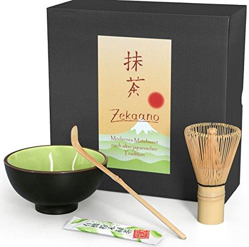Matcha-Set 3-Teilig Sommergrün, Bestehend aus Matcha-Schale, Matcha-Löffel und Matcha-Besen (Bambus) in Geschenkbox. Original Aricola®