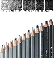 FAVIO Artist Quality Drawing Soft Safe Lead Non-Toxic Standard Art Pencil Set - 9B, 8B, 7B, 6B, 5B, 4B, 3B, 2B, B, HB, F, H (Grey)