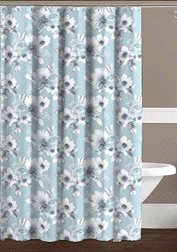 cassa ndra Aqua Blau Grau Weiß geprägt Stoff Vorhang für die Dusche: Watercolor Floral Design (Weiß Und Aqua Vorhänge)