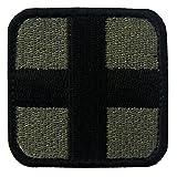 EmbTao Taktisch Medic Kreuz Armee-Moral ACU Bestickter Aufnäher mit Klettverschluss, Olive und Schwarz