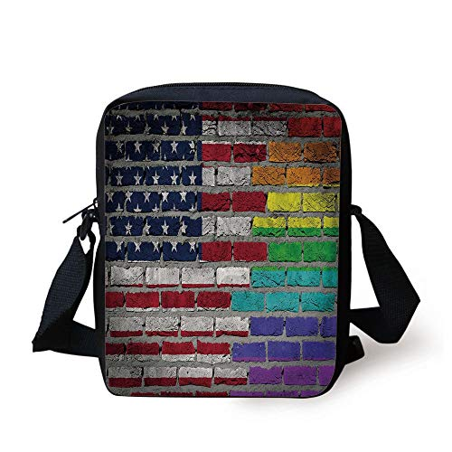 Pride Decorations,Grunge Dark Brick Wall with American and Rainbow Flag Painted Together Decorative,Multicolor Print Kids Crossbody Messenger Bag Purse -