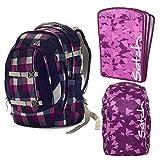 satch Pack Berry Carry 3-teiliges Set Rucksack, Triple Flex & Regenhaube lila