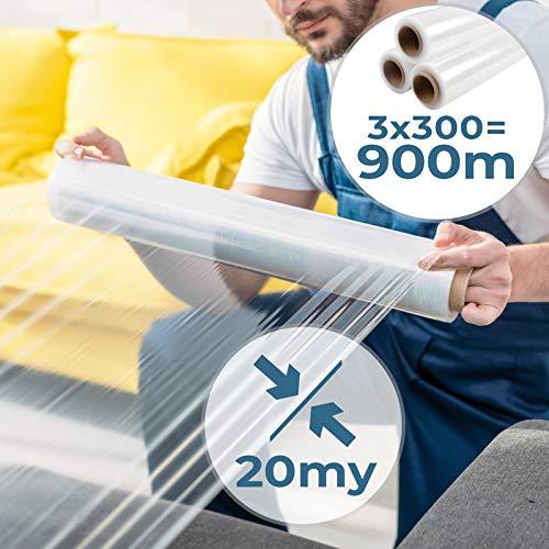 Stretchfolie 3er Set | 20my, 3 x Rollen (500mm x 300m), Transparent | Palettenfolie, Plastikfolie, Wickelfolie, Handfolie