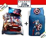 Caleffi Due parure Copripiumino Cars Neon e Captain America