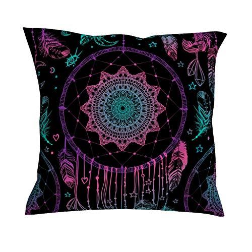 QVOOD - Funda de cojín con diseño de atrapasueños y Mandala, para sofá, sofá, Coche, Dormitorio o decoración del hogar, Blanco, 45 x 45 cm