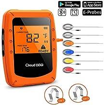 Termometro da Cucina Bluetooth,Termometro per Alimenti,BBQ Termometro Wireless,Termometro Digitale con 6 Sonde,Termometro Arrosto,Termometro di Carne,Display LED Magnetico,Supporto APP iOS&Android