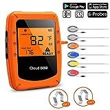 UBaymax Bluetooth Thermomètre de Cuisson Digital,Thermomètres à Viande avec 6 Sondes pour BBQ, Fumoir, Four avec minuterie