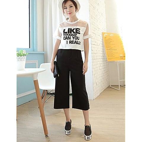 ZY/da donna casual giubbino-pantaloneinserti sottile Loose Pantaloni (misto cotone), black-l