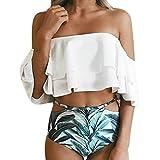 Eagerness Damen Bikini Fashion Ruffles Zweiteilig Bademode High Waist Swimsuit Print Sommer Strandmode