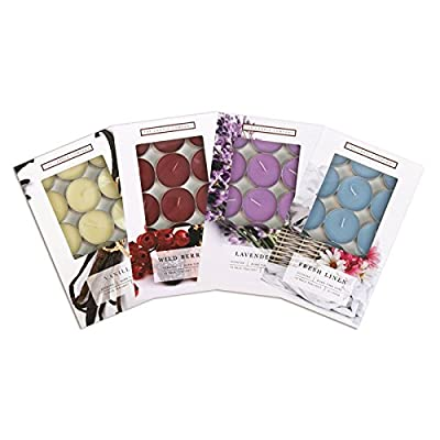 Invero® 60 Piece Scented Tealight Wax Candle Set Includes Lavender, Winter Berry, Fresh Linen and Vanilla Scents - Burn Time 3 Hours ideal for all Kitchens, Bedrooms, Living Rooms, Office, Gift and more from Invero®