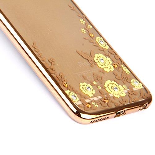 iPhone 6 Silikon Hülle,iPhone 6S Case - Felfy Ultra Slim weicher Gel TPU Transparent Handyhülle Schutzhülle Ultradünnen Kratzfeste Plating Bling Funkeln Diamant Transparenter Freier Case Tasche Etui f Tyrant Gold Case Gelbe Blumen