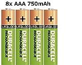 2x4Stück Duracell AAA 750mAh Ni-MH Akku Rechargeable wiederaufladbare Akkus Batterie NEU BulkWare