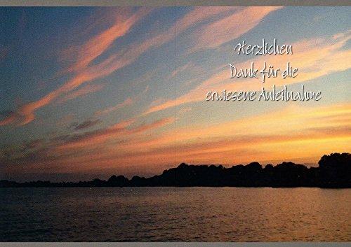 Trauer Danksagungskarten Trauerkarten Motiv Sonnenuntergang orange 20 Klappkarten DIN A6 ohne Innentext mit weißen Umschlägen (K75)