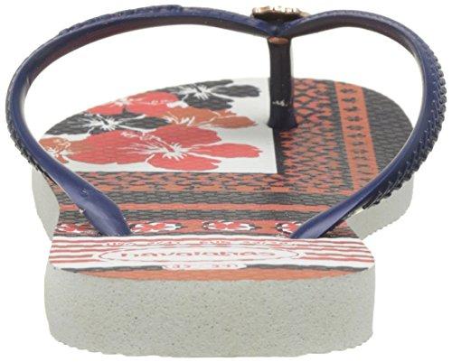 Havaianas Infradito Donna Slim Thematic Multicolore (White/Navy Blue 0052)